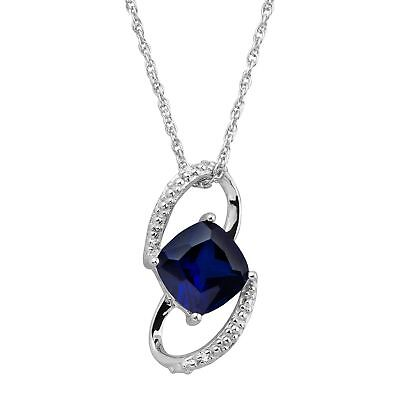1 1/2 ct Created Sapphire Deco Pendant with Diamonds in Sterling Silver
