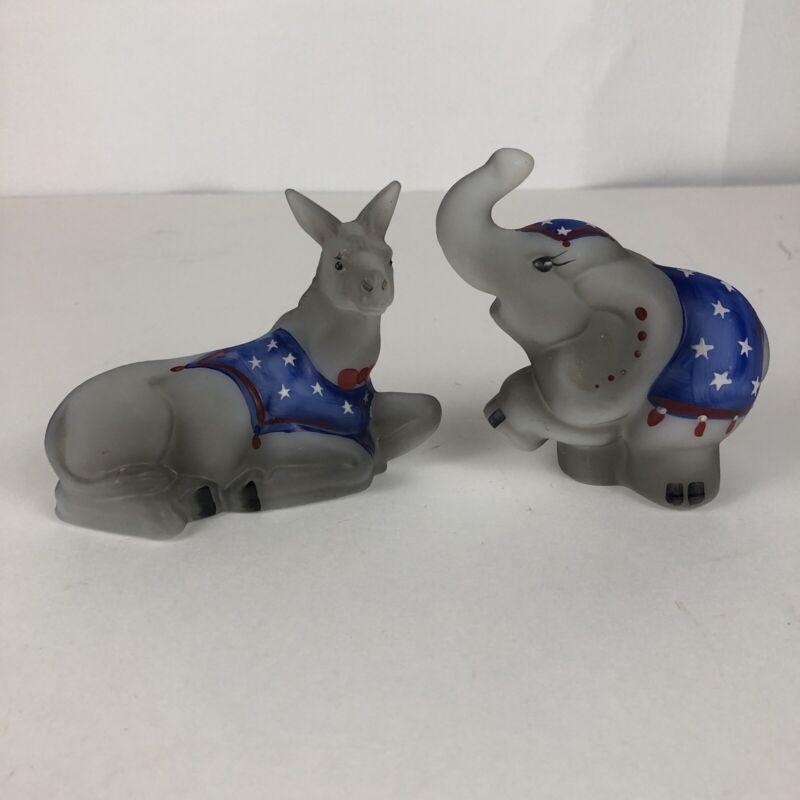 Fenton Glass Democrat Donkey & Republican Elephant Hand Painted Ltd Ed Signed