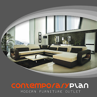 Ultra Modern Italian Leather Sectional Sofa Contemporary Design -Cream and Black Cream Leather Sectional Sofa