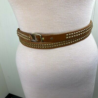 HTC Los Angeles Brown Leather Double Wrap Brass Pyramid Stud Belt Size 30 Hollyw