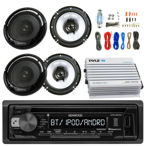 "400W Bluetooth Amplifier, Amp Kit, 4 Kenwood 6.5"" Speakers, Kenwood CD USB Radio"
