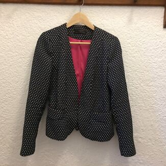 Zara navy peplum back polka dot blazer jacket Size L
