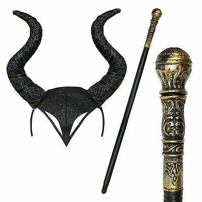 EVIL WITCH HEADBAND & STAFF Halloween Gothic Horn Cosplay Fancy Dress Black UK](Halloween Horns Uk)