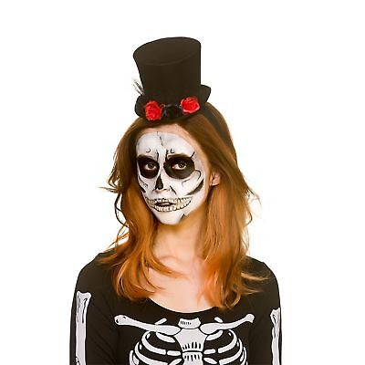 Day Of The Dead Mini Top Hat Halloween Adults Womens Fancy Dress Costume (Dead Party Girl Halloween Costume)