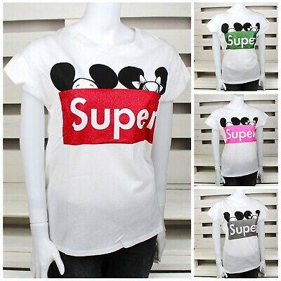 Damen Shirt Micky Minnie Maus T-Shirt Glitzer Made Italy 100% Baumwolle Gr. S-L ()