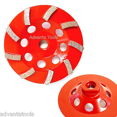 4.5 Spiral Turbo Concrete Diamond Grinding Cup Wheel 9 Segs 58-11 Arbor
