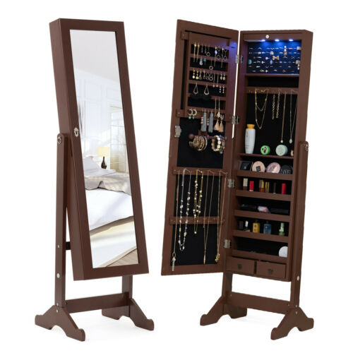 Full Length LED Mirrored Jewelry Cabinet Armoire Storage Org