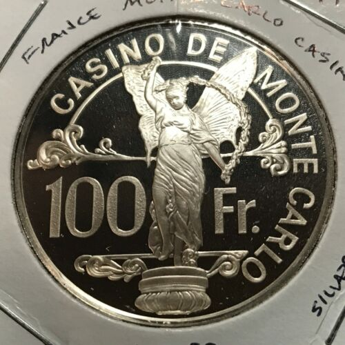 1977 FRANCE SILVER PROOF MONTE CARLO CASINO 100 FRANCS CROWN