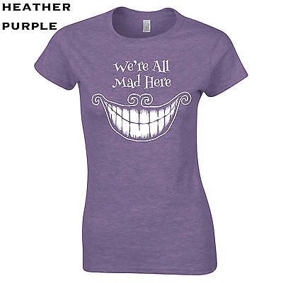 Crazy Hatter Costume (569 We're all mad here Womens T-Shirt funny hatter alice new cool costume crazy)