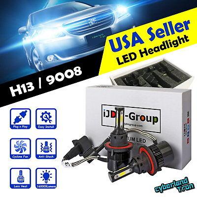 2 x H13 9008 COB White LED Headlight 6000K 160000LM Bulbs for Low & High Beam @