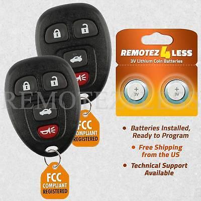 2 For 2009 2010 2011 2012 Chevrolet Malibu 4b Keyless Entry Remote Car Key Fob