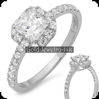 MAY 14K White GOLD Ring 1.50Ct PRINCESS Cut Diamond Lab-created Engagement Woman