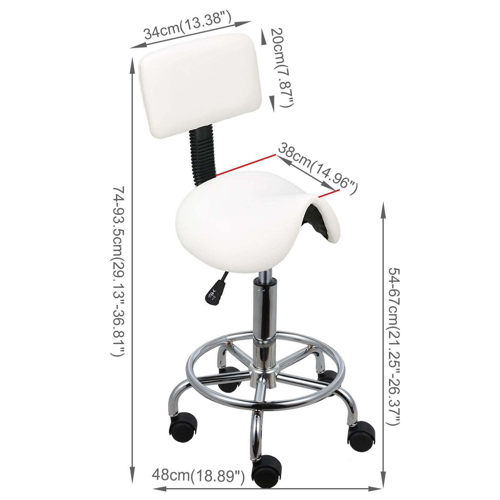Rollhocker Arbeitshocker Drehstuhl Praxishocker Kosmetikhocker Arbeitsstuhl weiße,sattel mit Rückenlehne