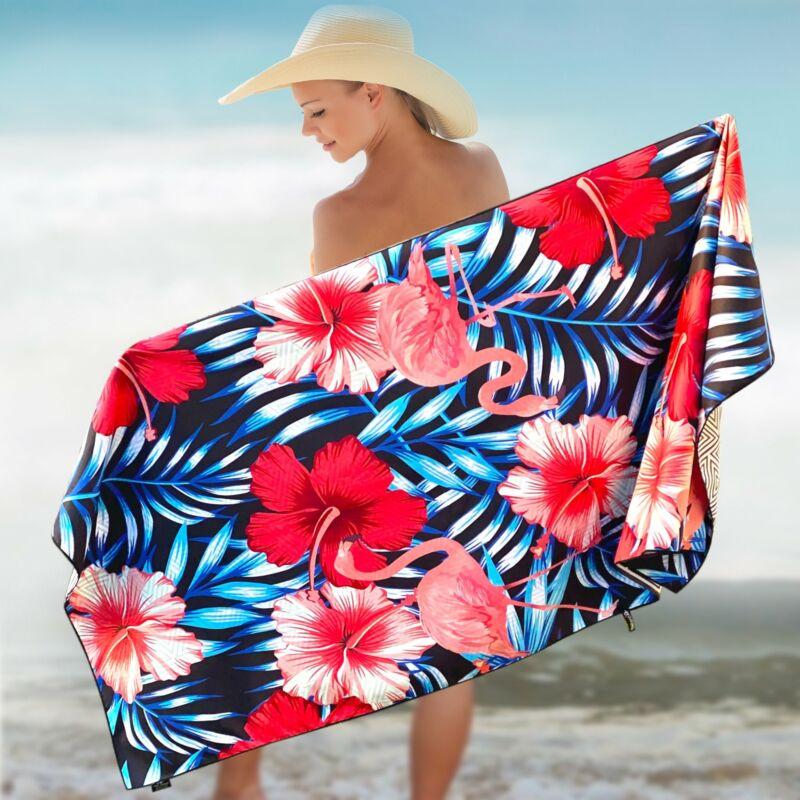 Elite Trend Microfiber Beach Towel for Travel - Oversized XL 78x35 FLAMINGO