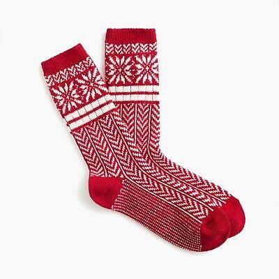 NEW J. Crew Women's Trouser socks in snowflake Fair Isle in Festive Red K6538