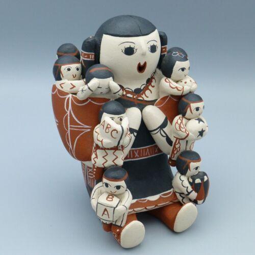 "Native American Pottery Storyteller Figure Cochiti Vangie Suina Signed 1984 5.5"""