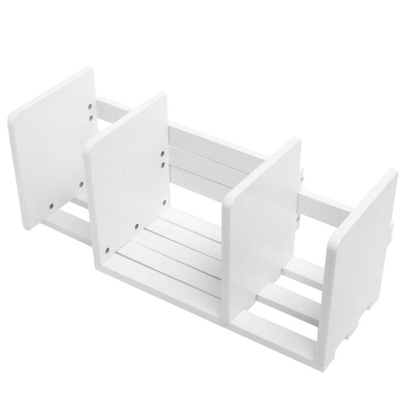 Expandable Wood Desktop Bookshelf / Adjustable Storage Organizer Rack, White