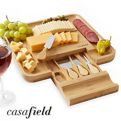 Bamboo Cheese Cutting Board Knife Gift Set Wooden Charcuterie Meat Serving Tray