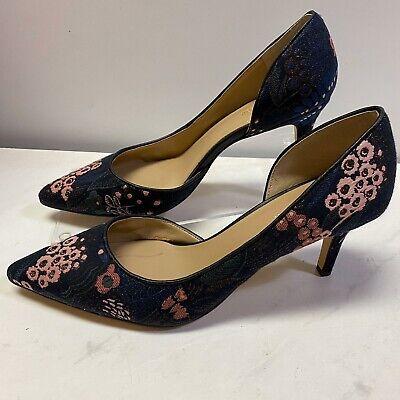 Ann Taylor Blue Pink Floral Kitten Heel Pumps 6.5