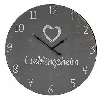 Retro XXL Wanduhr Lieblingsheim Lieblingsmensch Antik Uhr 60cm Shabby-look Holz ()