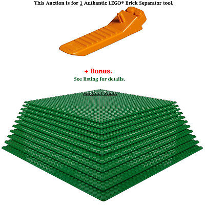 "1 Authentic LEGO Separator. Plus Bonus 10 Green 10"" x 10"" compatible base plates"