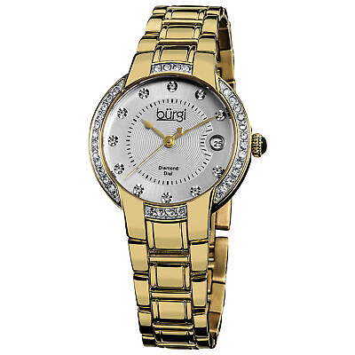 New Women's Burgi BUR077YG Diamond Dial Gold-tone Stainless Steel Bracelet Watch