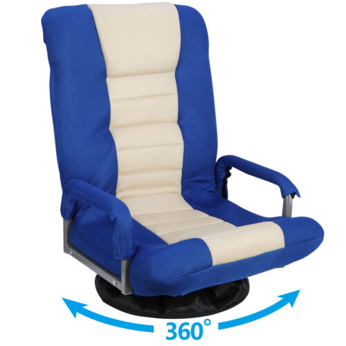 360 Degree Swivel Gaming Floor Chair w/Armrest Handles Foldable Adjustable Back Chairs