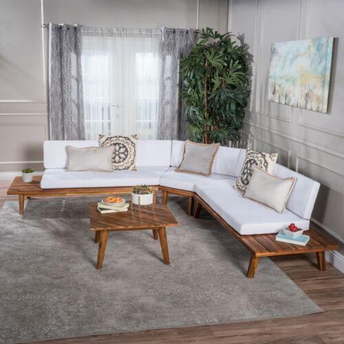 Emmory Indoor Minimalist V Shaped 4 Piece Acacia Wood Sectional Sofa Set