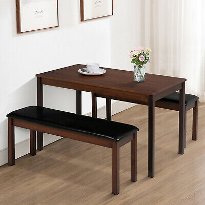 3PCS Dining Table Set w/ 2 PU Leather Benches Pine Wood Desk Kitchen Furniture