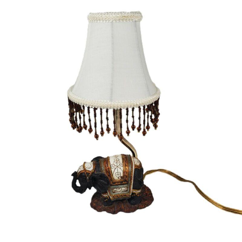 Ornate Desk Lamp Elephant Safari Beaded Fringed Lampshade Included Vintage CBK