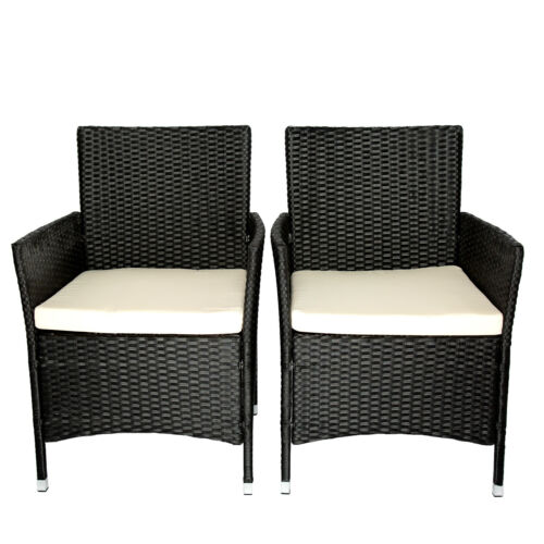 Garden Furniture - 2PC Patio Rattan Wicker Chair Sofa Patio Garden Furniture w/Cushion Outdoor