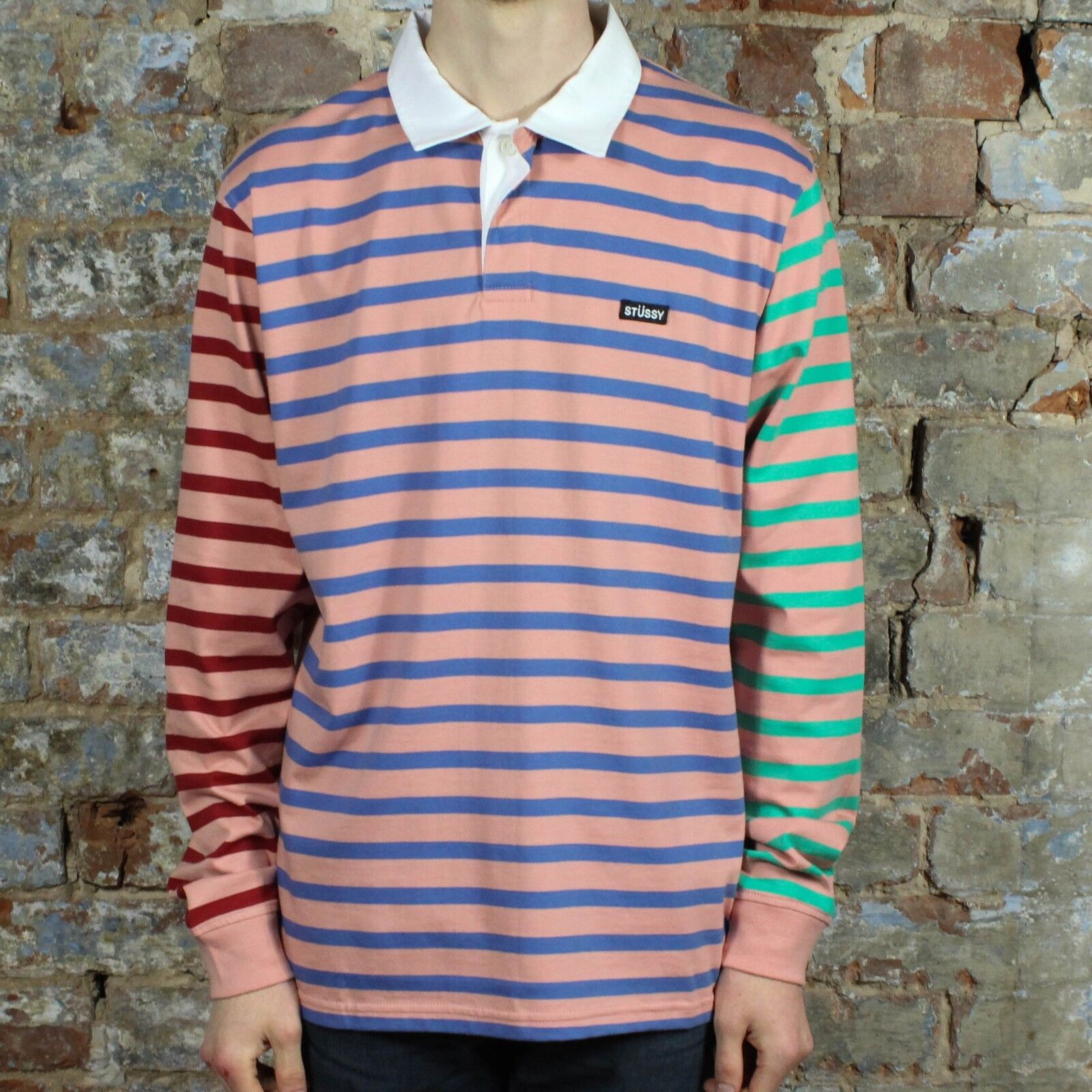 d8425d8d13 Details about Stussy Jonah Stripe Rugby Long Sleeve T-Shirt Top New in Pink  in size S,M,L