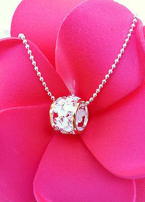 Hawaiian Jewelry - Hawaiian 925 Sterling Silver Jewelry Hibiscus Barrel Pendant Necklace # SP34245