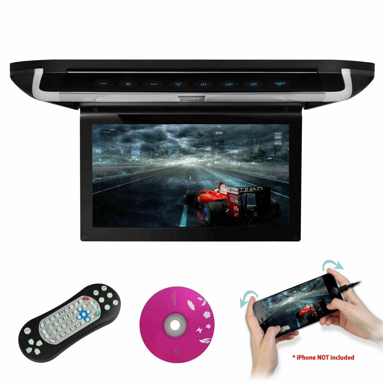 """HDMI 15.6"""" HD LCD Car Coach 1080P Video Flip Down USB DVD SD"""