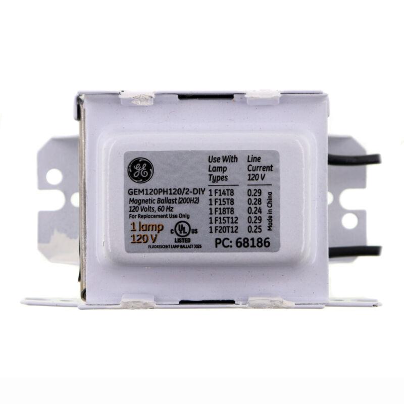 GE GEM120PH120/2-DIY 68186 MAGNETIC RAPID START BALLAST, 1-LAMP, T12, T8, 120V