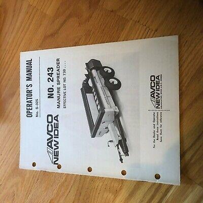 New Idea Manure Spreader 243 Operator Maintenance Manual
