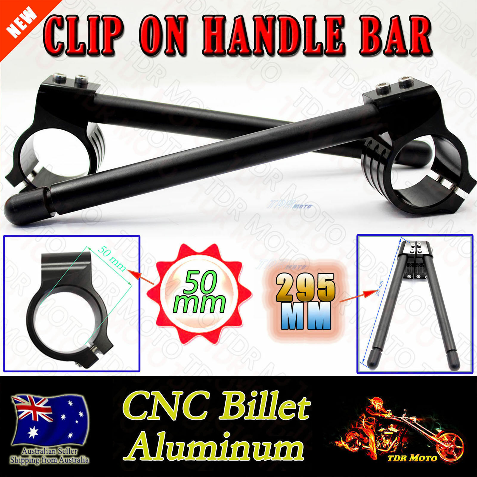 50MM CNC Black Fork CNC Clip On On Handlebar for Kawasaki ZX10R
