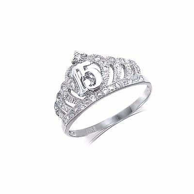14K Solid White Gold CZ Crown Sweet 15 Ring Quinceanera Anos Birthday Band Girls 14k White Gold Cz Rings