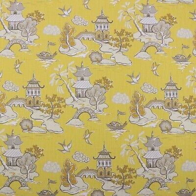 HOME ACCENTS YANADU LEMON DROP YELLOW ASIAN TOILE TEMPLE FABRIC BY THE YARD 54