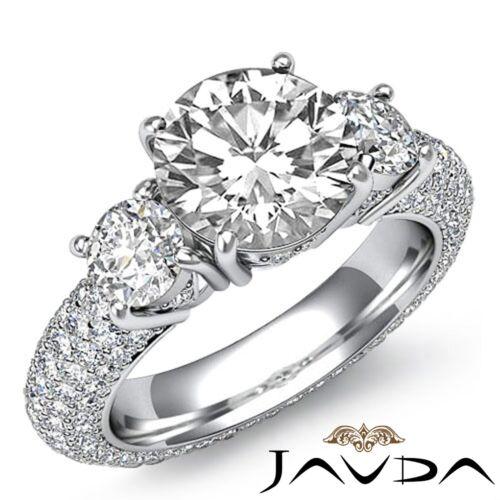 3.64ct Round Diamond 3 Stone Pave Set Engagement Ring GIA F VVS2 14k White Gold