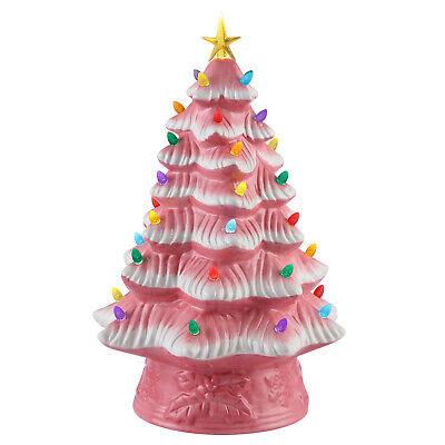 "Mr. Christmas 16"" LED Retro Nostalgic Ceramic Christmas Tree Pink Light Up - NEW"