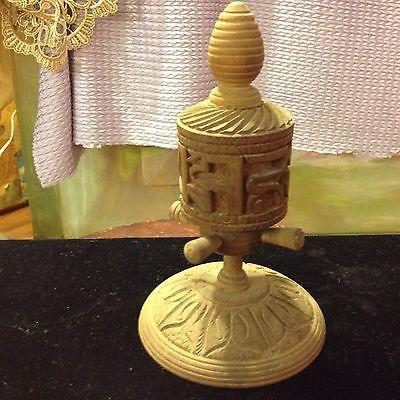 Antique/Vintage Carved Wooden Tibetan Prayer Wheel!
