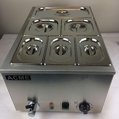 ACME 6 PAN POT WET HEAT BAIN MARIE HOT FOOD SAUCE WARMER HOLDER 150MM PANS & LID