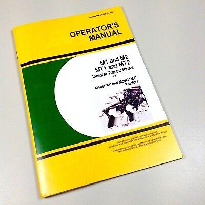 Operators Manual For John Deere M1 M2 Mt2 Integral Tractor Plow Owners
