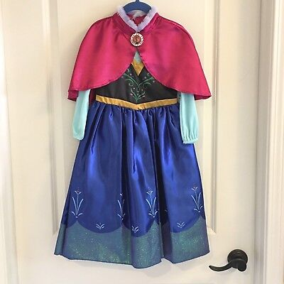 DISNEY STORE FROZEN PRINCESS ANNA GIRLS DELUXE COSTUME DRESS SIZE 4 NWT   - Anna Deluxe Costume