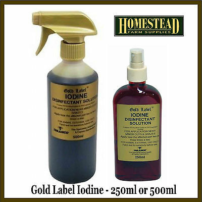 GOLD LABEL IODINE SPRAY - 250ML OR 500ML - ANIMAL FIRST AID UMBILICAL CORDS