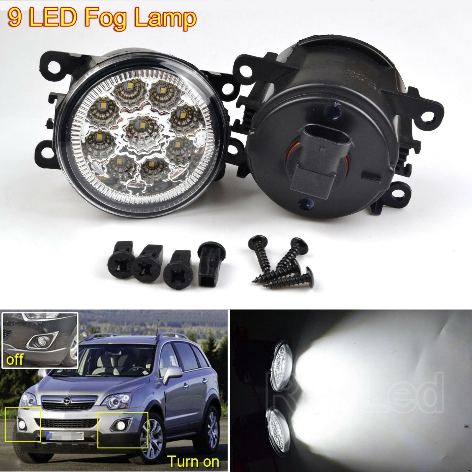 Pair 9 LED Front Bumper Fog Light Lamps Bulb DRL Opel Vauxhall Astra G Vectra C