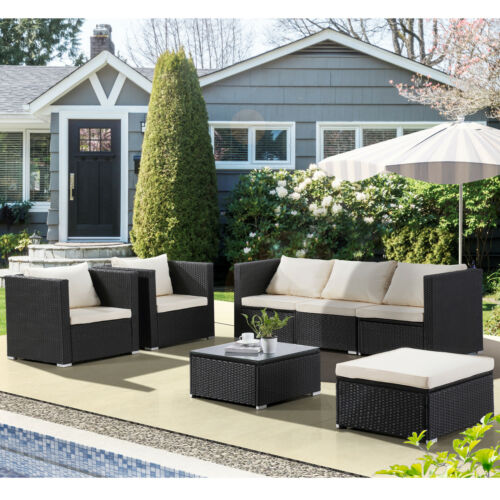 Garden Furniture - 7 PC Patio PE Rattan Wicker Sofa Set Backyard Outdoor Garden Furniture Cushioned