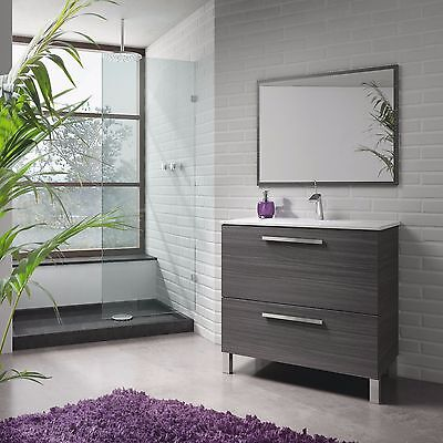 Mueble de baño o aseo con espejo a juego color gris ceniza...