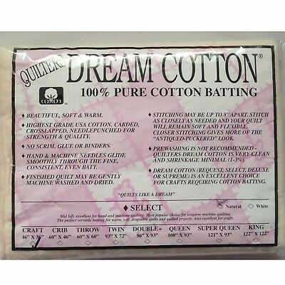 Quilters Dream Craft Natural Cotton Select Quilt Batting 46